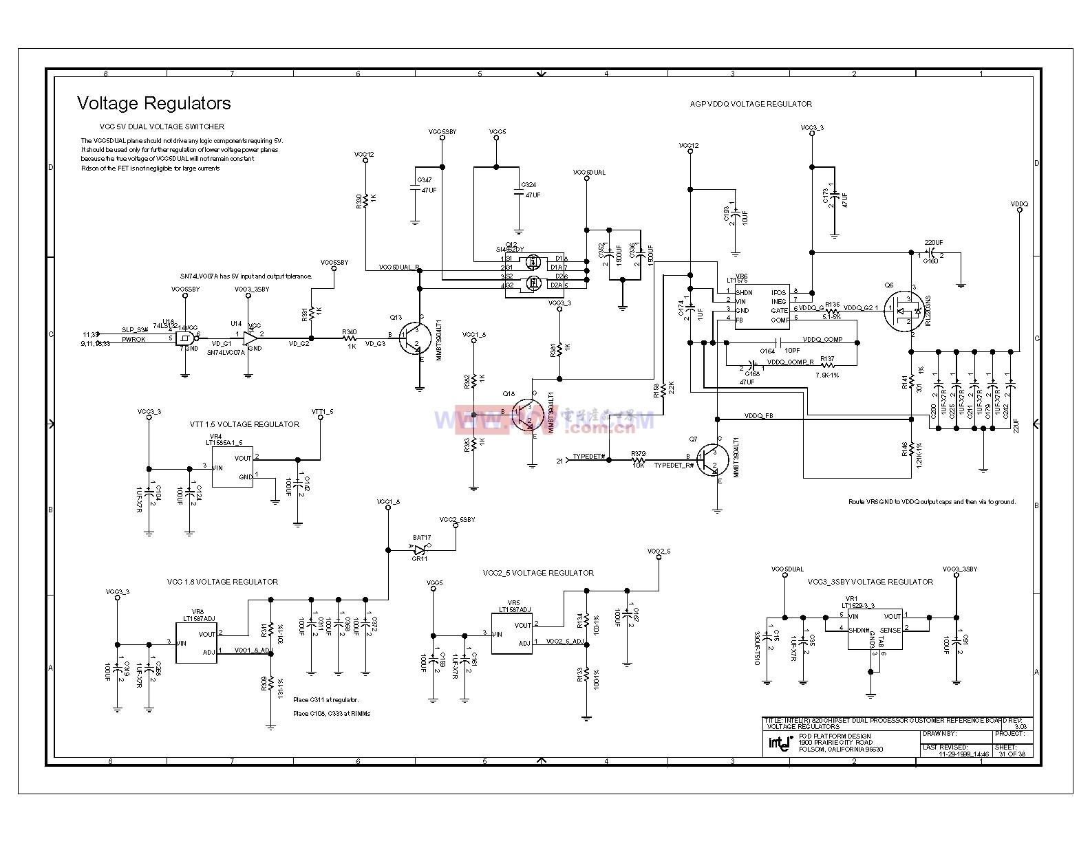 Intel 820E主板稳压器电路图