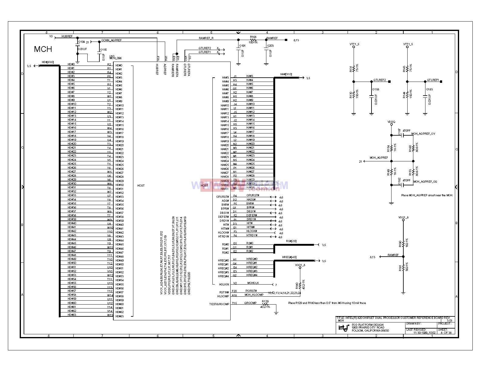 Intel 820e主板MCH北桥控制芯片电路图