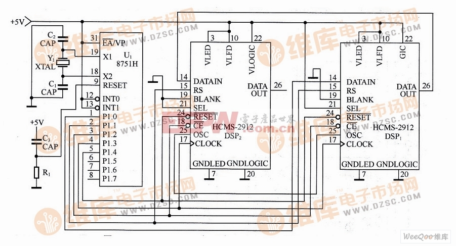 INTEL 8751H与两片HCMS-2912的接口电路