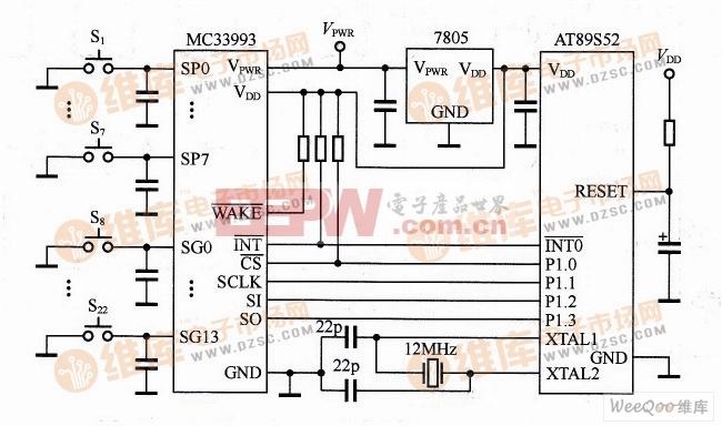 MC33993与AT89S52构成的键盘控制接口电路
