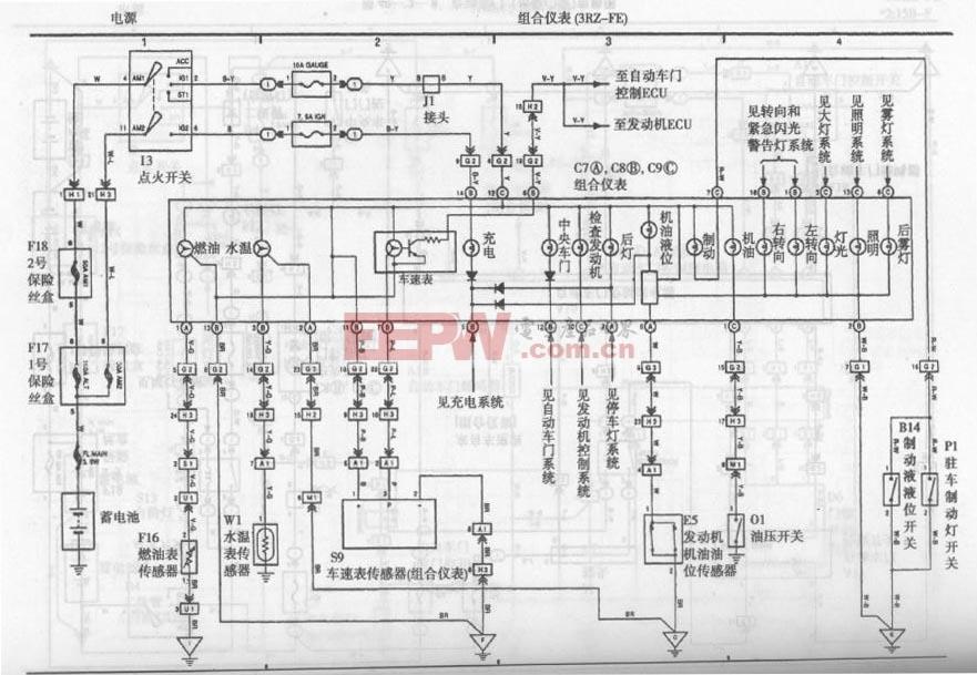 机动车 电动车电路图 机动车综合电路图 ->丰田考斯特客车组合仪表