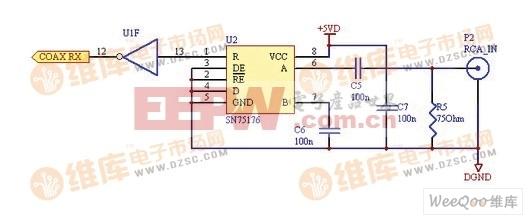 子卡部分,同轴输入电路部分的电路