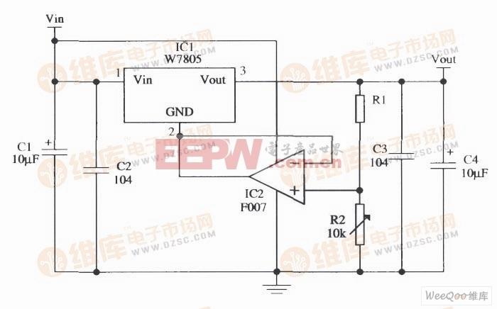由W7805构成的输出电压连续可调的应用电路