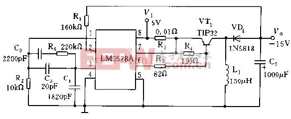 利用LM3578A构成的DC/DC变换器电路图