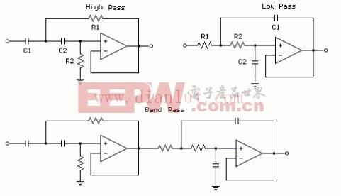 二阶滤波器运算放大器电路原理图