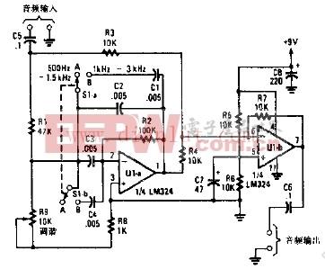 短波接收机用音频陷波滤波器的原理图