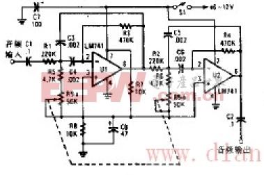 频率可调音频带通滤波器原理图