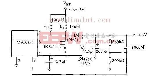 利用MAX641构成的升压启动的变换器电路图