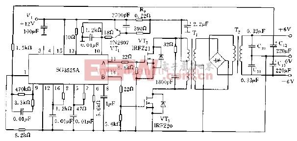 基于SG3525A的推挽式DC/DC变换器电路