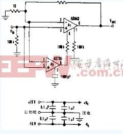 低噪声漂移复合放大器电路图
