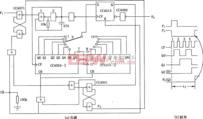 CC4024构成的可选分频系数延时电路