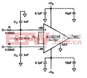 利用AD8295对RFI抑制的电路图