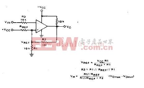 滞后式反相比较器电路原理图