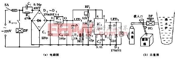 采用555集成芯片构成自动供水电路