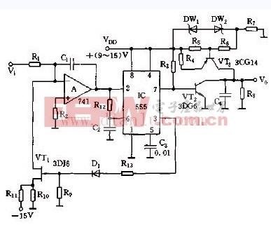 输出为线性锯齿波的电压 频率转换器电路