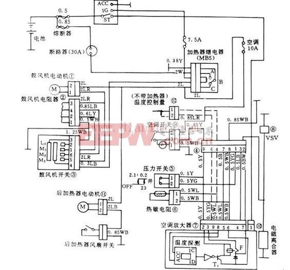 引领时代的丰田单式空调电路