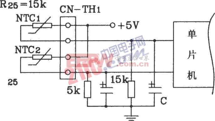 松下分体空调单片机控温检测回路联接电路原理图