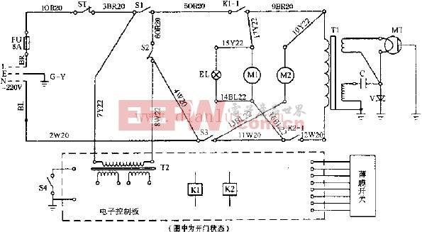 富士宝W-8511电脑式微波炉电路原理图