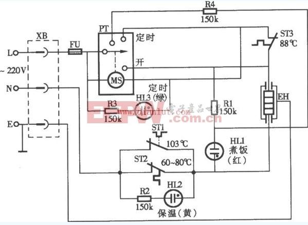 低耗能的定时式自动电饭锅电路