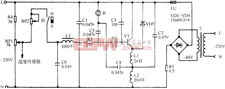 TD-5型超声波微型雾化加湿器电路