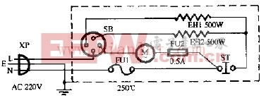 千叶牌FH-1000Z冷暖风机电路原理图