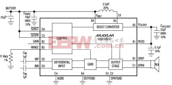 MAX98500组成的升压型扬声器放大器电路