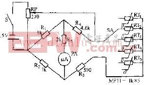 MF53--型热敏电阻器测温仪电路原理图