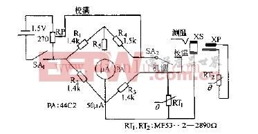 MF53--型热敏电阻器测湿电路原理图