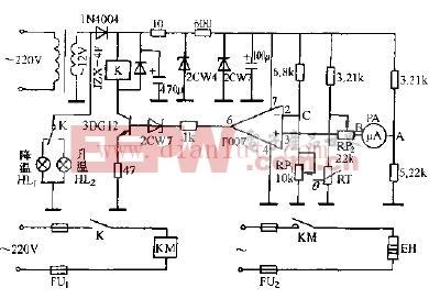 负温度系数热敏电阻器测温控温电路原理图