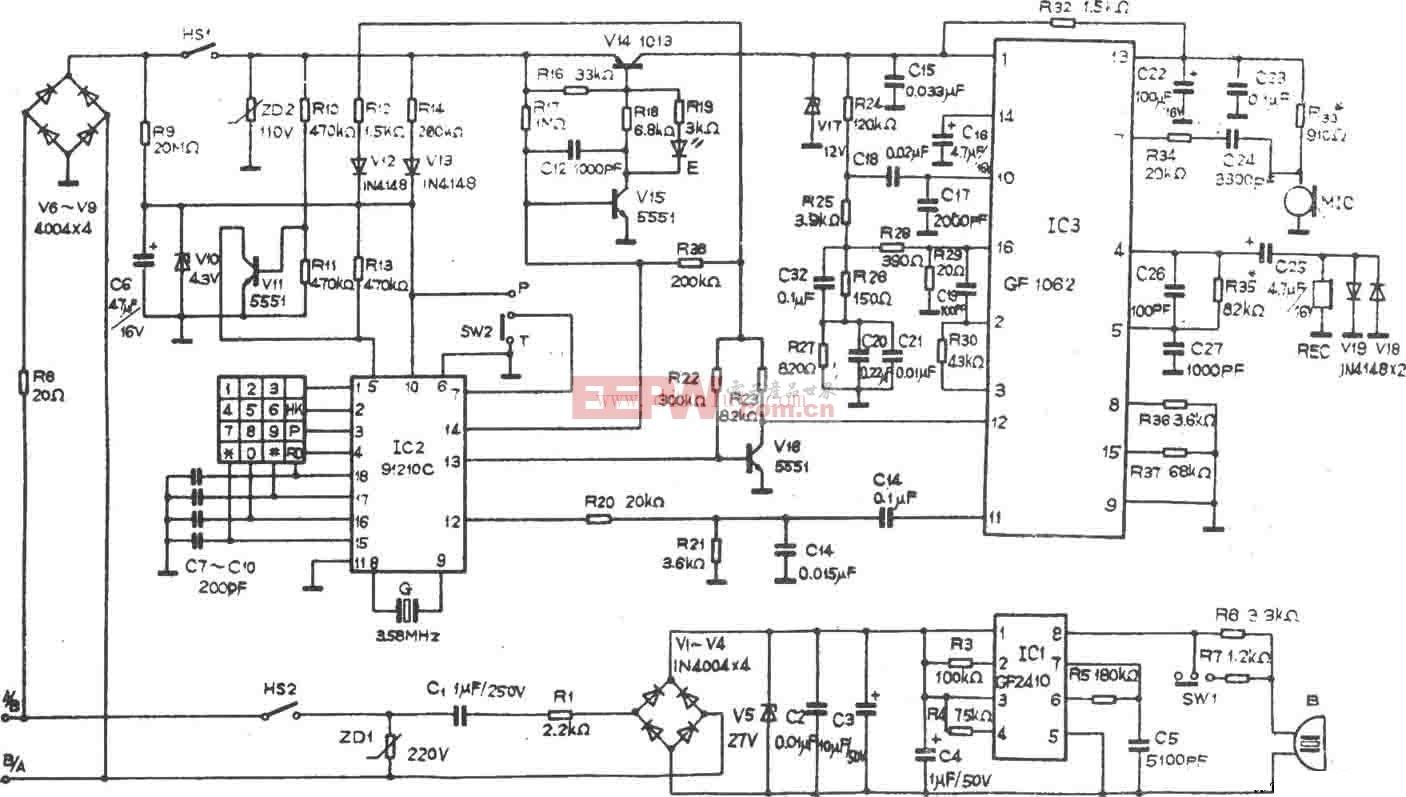 HA893(III)P/T型电话机电路设计