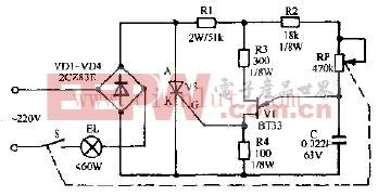 双鱼牌B7416型电子调光书写台灯电路