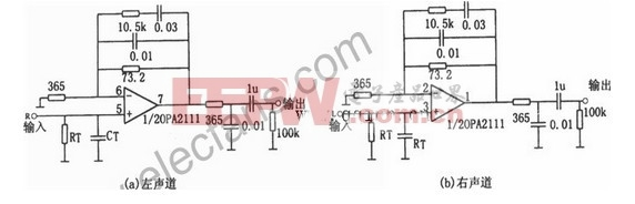 OPA2111设计的均衡立体声前置放大电路