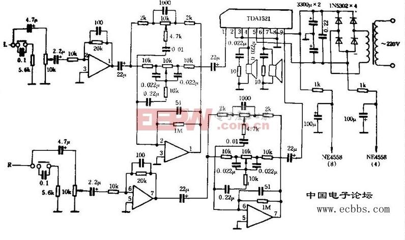 用TDA1521组装的功率放大器电路图