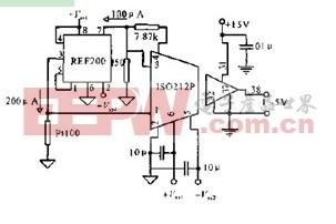 被隔离放大的铂电阻测温电路