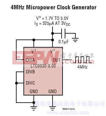 LTC6930-X.XX-32.768MHz至8.192MHz精准微功率振荡器
