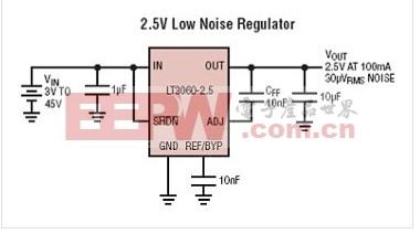 LT3060 - 45V Vin、微功率、低噪声、100mA、低压差线性稳压器