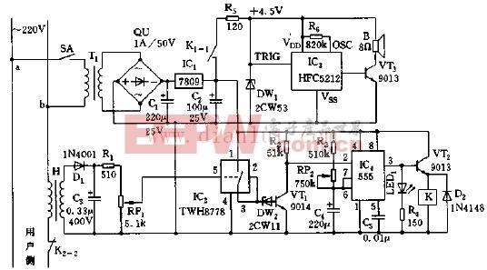 声光告警功能限电电路原理图