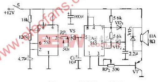 555组装的10W警笛电路