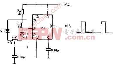 占空比可调频率不变的多谐振荡器电路图