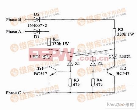 简单的相序指示电路