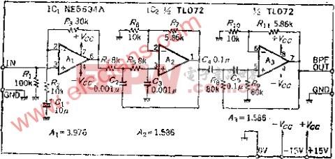 用于测量S/N的音频带通滤波器
