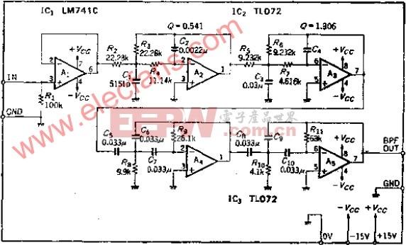可改善话音信号噪声比S/N的音频带通滤波器
