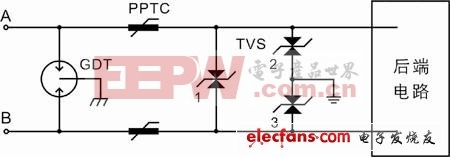RS485总线的两级防护电路图