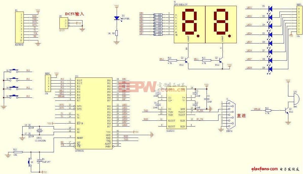 单片机与计算机之间的串行通信原理图和PCB图