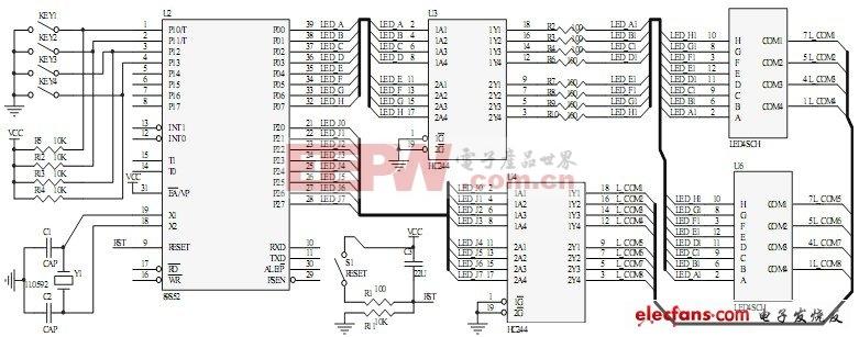 基于MCS-51单片机的定时报警器电路原理图