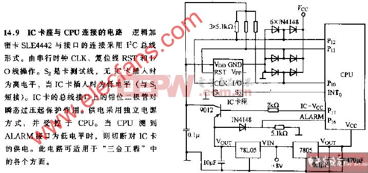 IC卡座与CPU连接的电路