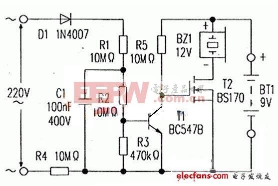 交流电源断电报警器电路图