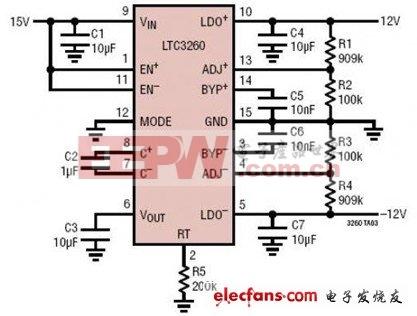 單端15V輸入電源的低噪聲±12V電源電路圖
