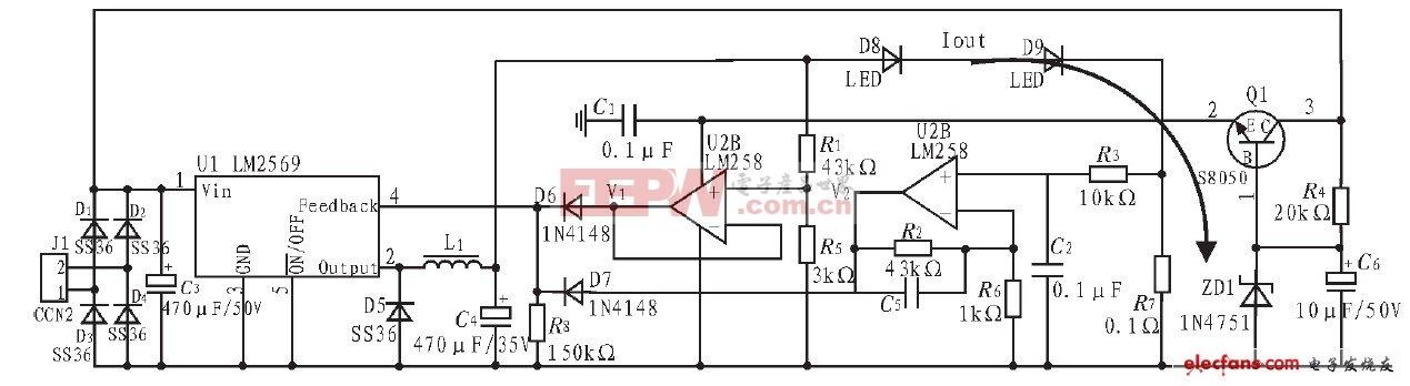 基于LM2596-ADJ的LED开关恒流稳压电源电路原理图