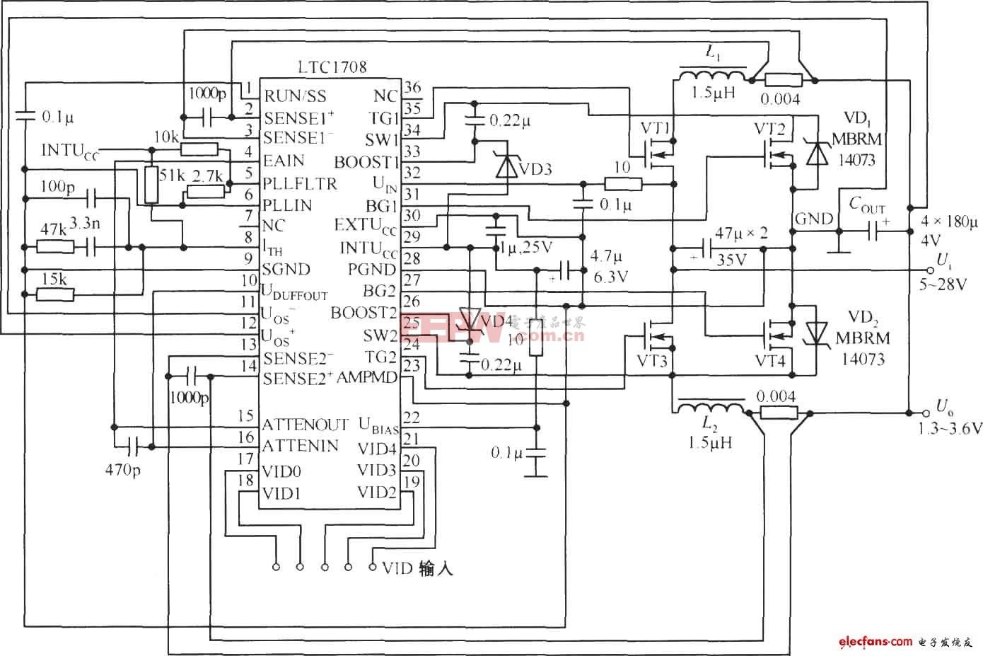 LTC1708构成的程控电源电路